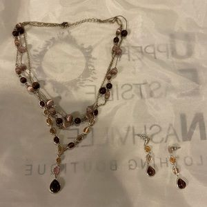 Purple triple layer necklace with earrings